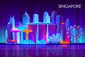 Singapore City Night Skyline Cartoon Background. Illuminated Neon Light Modern Skyscrapers, Resort H poster