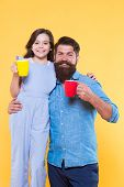 Increase Energy Level. Little Child And Father Hold Cups Of Hot Energy Drink. Happy Family Enjoy Cof poster