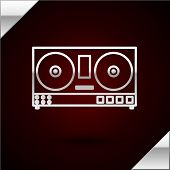 Silver Line Dj Remote For Playing And Mixing Music Icon Isolated On Dark Red Background. Dj Mixer Co poster