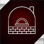 Silver Line Brick Stove Icon Isolated On Dark Red Background. Brick Fireplace, Masonry Stove, Stone  poster