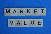 Phrase Market Value Made From Gray Wooden Letters Lies On A Blue Background poster