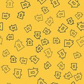Blue Line House Under Protection Icon Isolated Seamless Pattern On Yellow Background. Protection, Sa poster