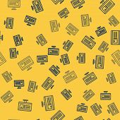Blue Line Computer Monitor With App Delivery Tracking Icon Isolated Seamless Pattern On Yellow Backg poster