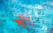 Abstract Brush Painting. Brushstrokes , Spots Of Paint. Background In Red And Blue Tones. Painted Ro poster