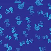 Blue Hand With Basketball Ball And Basket Icon Isolated Seamless Pattern On Blue Background. Ball In poster