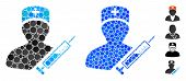 Medic Composition Of Round Dots In Different Sizes And Color Tints, Based On Medic Icon. Vector Roun poster