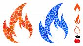 Flame Mosaic Of Filled Circles In Variable Sizes And Color Hues, Based On Flame Icon. Vector Random  poster