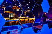 Mirrors In The Form Of Many Hexagons In Which The Night Club Is Reflected, In Blue Shades, Design, I poster
