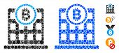 Bitcoin Corporation Building Mosaic Of Small Circles In Variable Sizes And Color Tones, Based On Bit poster