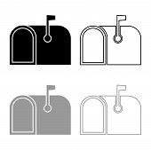 American Mail Box With Flag Pillar-box Postbox Icon Outline Set Black Grey Color Vector Illustration poster