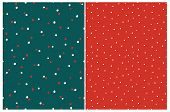 Simple Hand Drawn Irregular Dots Vector Patterns. Red And White Tiny Dots On A Dark Green Background poster