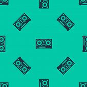 Blue Line Dj Remote For Playing And Mixing Music Icon Isolated Seamless Pattern On Green Background. poster