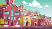 Urban Street Landscape With Retro Residential Buildings, Cartoon Vector. Cityscape Vintage Backgroun poster