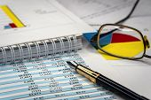 Accounting Business. Glasses And Pen With Accounting Report poster