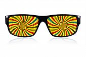 Trendy sunglasses with a colorful psychedelic illustration where  the lenses should have been isolat