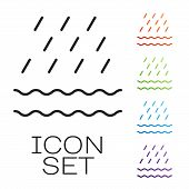 Black Line Rain And Waves Icon Isolated On White Background. Rain Cloud Precipitation With Rain Drop poster