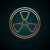 Gold Line Radioactive Icon Isolated On Dark Blue Background. Radioactive Toxic Symbol. Radiation Haz poster