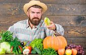 Healthy Lifestyle. Man With Beard Wooden Background. Become Organic Farmer. Farmer With Organic Home poster