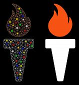 Glossy Mesh Torch Fire Icon With Sparkle Effect. Abstract Illuminated Model Of Torch Fire. Shiny Wir poster