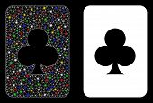 Glossy Mesh Clubs Gambling Card Icon With Glow Effect. Abstract Illuminated Model Of Clubs Gambling  poster