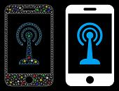 Glossy Mesh Radio Control Smartphone Icon With Glitter Effect. Abstract Illuminated Model Of Radio C poster