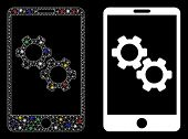 Glowing Mesh Smartphone Gear Options Icon With Lightspot Effect. Abstract Illuminated Model Of Smart poster