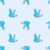 Blue Line Electric Hot Glue Gun Icon Isolated Seamless Pattern On Grey Background. Hot Pistol Glue.  poster