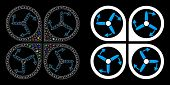 Flare Mesh Copter Screws Rotation Icon With Sparkle Effect. Abstract Illuminated Model Of Copter Scr poster