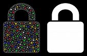 Glossy Mesh Lock Icon With Sparkle Effect. Abstract Illuminated Model Of Lock. Shiny Wire Carcass Po poster