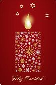 Feliz Navidad Candle Vector With Snowflakes, Stars And Spanish Greetings. Translation Spanish To Eng poster