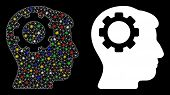 Glossy Mesh Brain Gear Icon With Glitter Effect. Abstract Illuminated Model Of Brain Gear. Shiny Wir poster