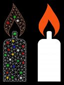Bright Mesh Candle Icon With Sparkle Effect. Abstract Illuminated Model Of Candle. Shiny Wire Frame  poster