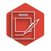 White Line Blank Notebook And Pen Icon Isolated With Long Shadow. Paper And Pen. Red Hexagon Button. poster