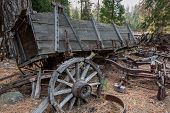 Vintage Gold Rush Era Wagon At The Pioneer Yosemite History  Center Near Wawona, A Tourist Attractio poster