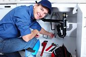 stock photo of plumber  - Professional plumber - JPG