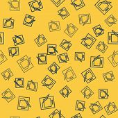 Blue Line Blank Notebook And Pen Icon Isolated Seamless Pattern On Yellow Background. Paper And Pen. poster