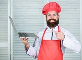 Culinary School. Hipster In Hat And Apron Buy Products Online. Shopping Online. Delivery Service. Ma poster