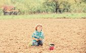 Gardening Concept. Child Having Fun With Little Shovel And Plant In Pot. Planting Seedlings. Plantin poster