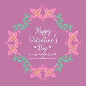 Unique Shape Leaf And Floral Frame, Isolated On An Elegant Magenta Background, For Happy Valentine G poster
