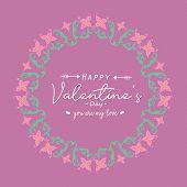 Pattern Leaf And Floral Frame Elegant, With Magenta Background, For Happy Valentine Poster Design. V poster