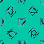 Blue Line Blank Notebook And Pen Icon Isolated Seamless Pattern On Green Background. Paper And Pen.  poster