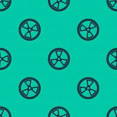 Blue Line Radioactive Icon Isolated Seamless Pattern On Green Background. Radioactive Toxic Symbol.  poster