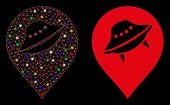 Bright Mesh Ufo Place Marker Icon With Sparkle Effect. Abstract Illuminated Model Of Ufo Place Marke poster