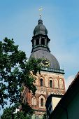 stock photo of cornerstone  - Dome Cathedral is the famoust largest church building in Latvia - JPG