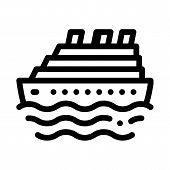 Cruise Ship Icon Vector. Outline Cruise Ship Sign. Isolated Contour Symbol Illustration poster