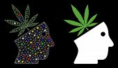 Glowing Mesh Cannabis Thinking Head Icon With Glare Effect. Abstract Illuminated Model Of Cannabis T poster