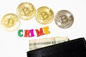 Word Crime With Bitcoin And Money In Wallet On White Background. Crypto Crime Concept. Criminal Use  poster
