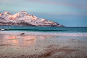 Sunrise With Amazing Magenta Color Over Sand Beach And Fjord. Tromso, Norway. Winter. Polar Night. L poster