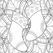 A Christmas Pair Of Stockings On The Floral Abstract Background Image For Adults.zen Art Style Illus poster