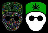 Glowing Mesh Cannabis Doctor Head Icon With Glitter Effect. Abstract Illuminated Model Of Cannabis D poster